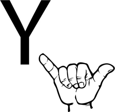 Asl Sign Language Letter Y Coloring Page From Asl Alphabet