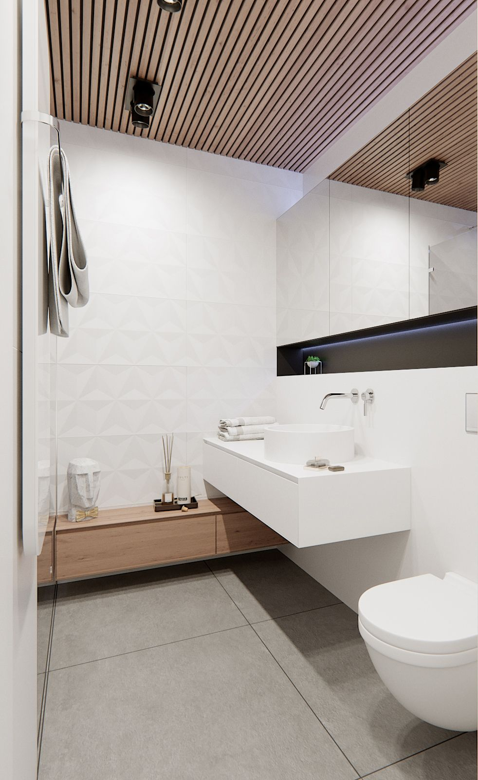Candid bathroom with 4D Diamond White wall tiles (by Studio Naboo ...