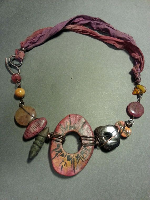 Artisan Polymer Tribal Necklace in Raspberry by stacilouise