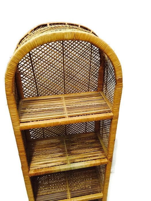 Vintage Rattan Etagere Bohemian Decor 54 inch Bamboo Curio Shelf Bookcase Stand Arched 4 Tiered Powder Room Vanity Display Shoe Stand (179.00 USD) by studio180