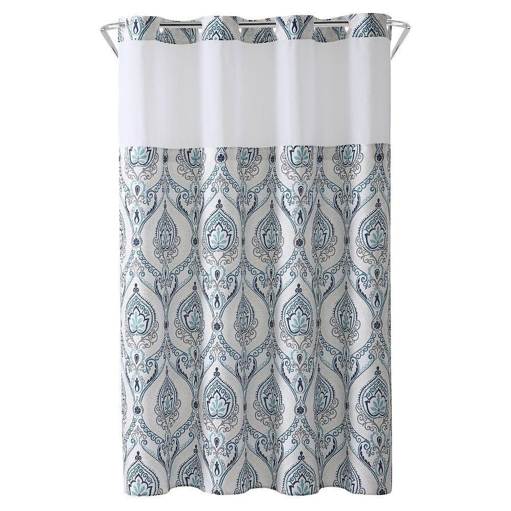 French Damask Shower Curtain With Liner Coral Hookless Printed