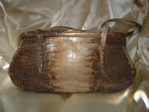 Vintage Sandra Roberts Faux Crocodile Shoulder Bag S Etsy Listing 92909113