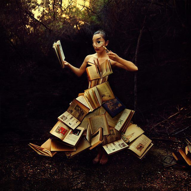 Girl outside with books & magnifying glass art   Surreal ...