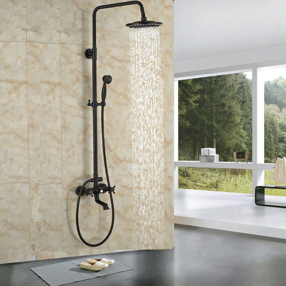 Oil Rubbed Bronze Shower Faucet 8 Rainfall Shower Head With Hand