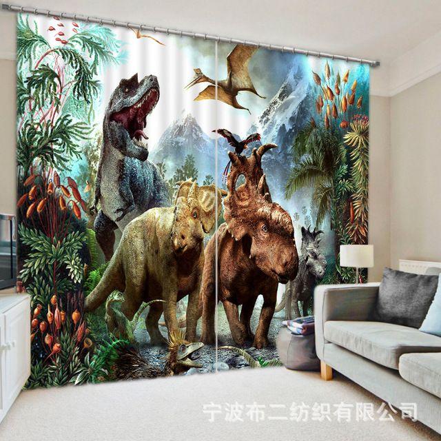 2017 moderne dinosaurus luxe 3d verduisterende gordijnen voor kinderen voor beddengoed woonkamer hotel gordijnen cortinas para