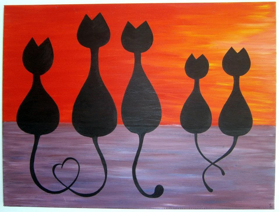 Sunset Cats   Oil Painting Would Love To Have This On Our Bedroom Wall
