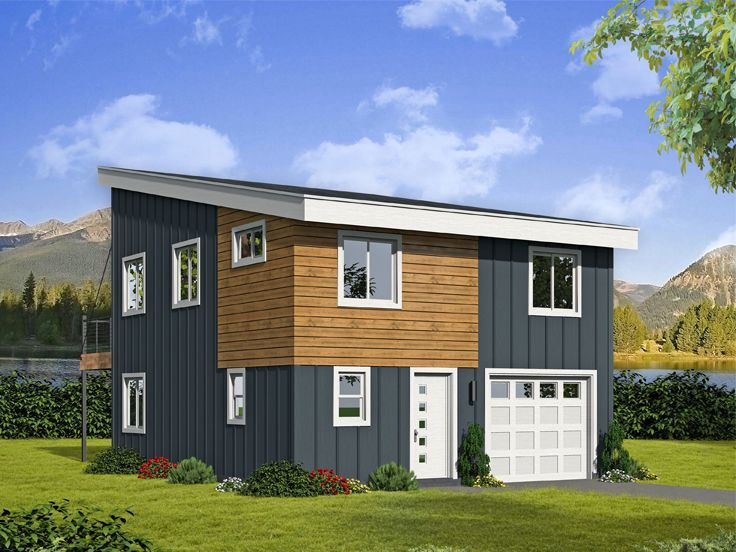 062G-0138: Modern Carriage House Plan with 1-Car Garage ...