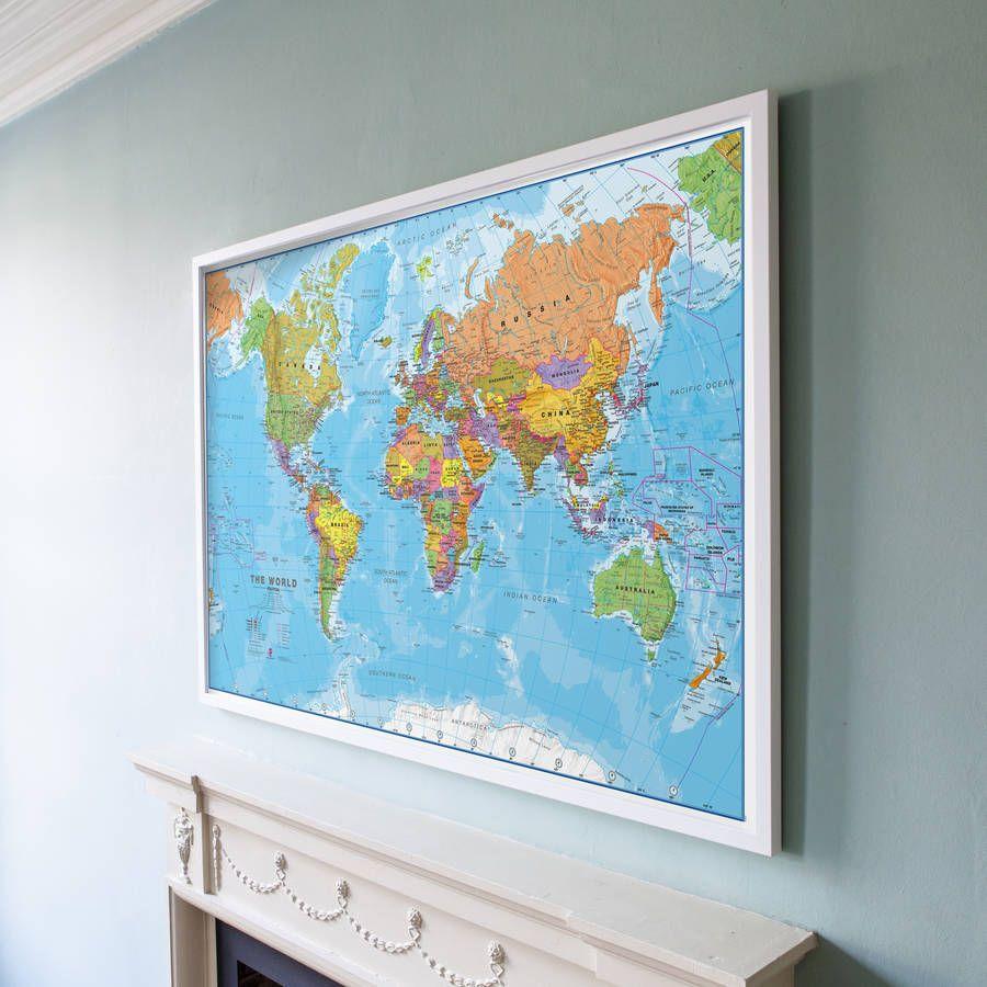 Framed Map Of The World Framed Maps Framed World Map World Map