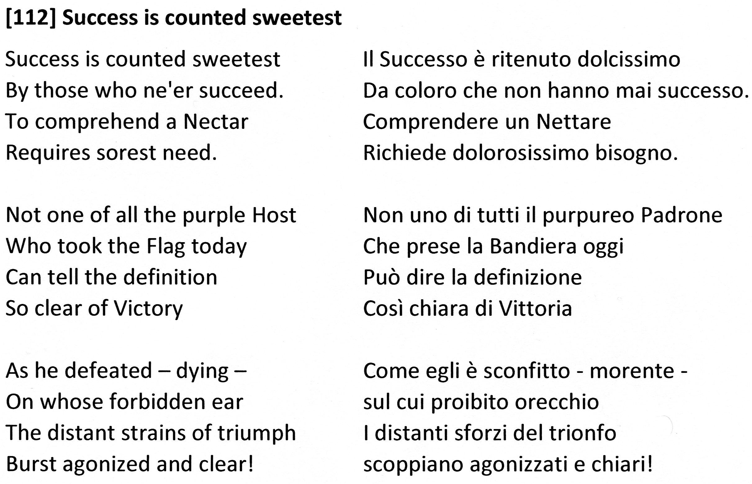 Dickensons color caste denomination - 112 Success Is Counted Sweetest Il Successo Ritenuto Dolcissimo Emily Dickinson
