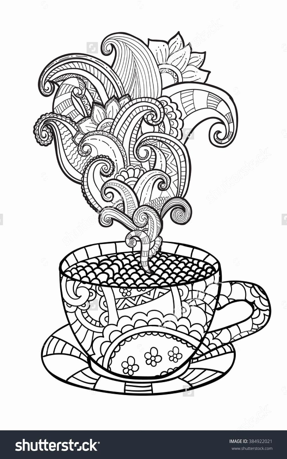 Coffee Cup Coloring Page Elegant Coffee Tea Cup Zentangle Style Coloring Page Shutterstock Coloring Pages Coloring Books Printable Coloring Pages