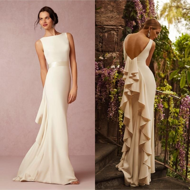 2016 Summer Beach Satin BHLDN Wedding Dress Sexy Backless