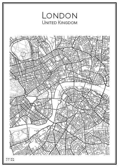 Kartta Lontoo 40x50 Cm Mapas Ilustrados