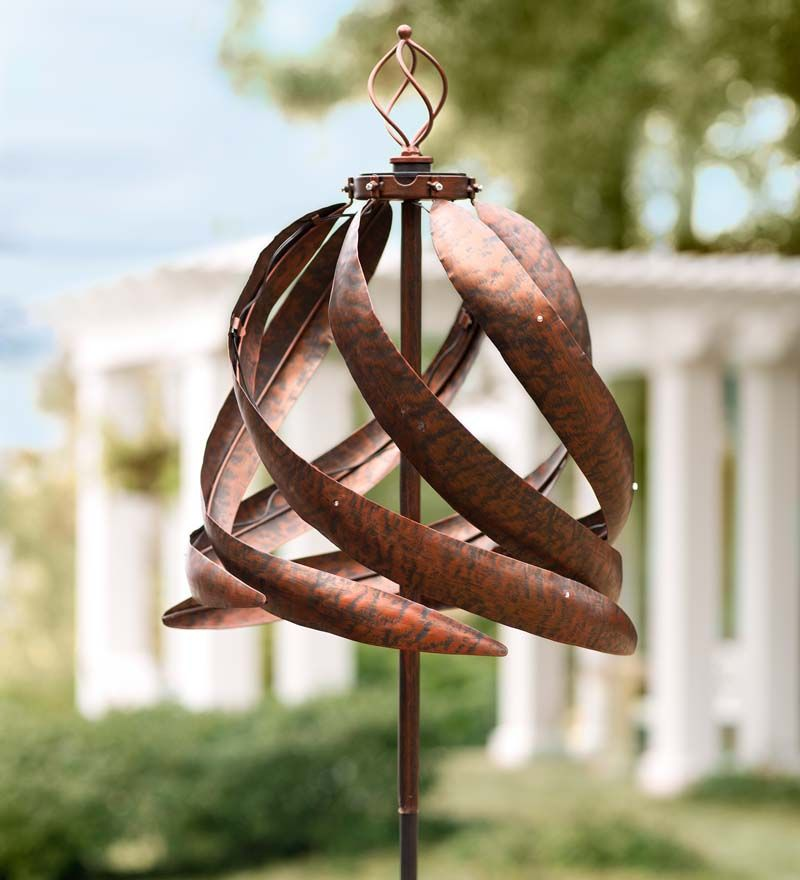 Over Six Feet Tall, This Solar Copper Colored Metal Wind Spinner Is  Equipped With Solar Powered LED Lights On Its Swirling Rotors That Soak Up  The Sunu0027s ...