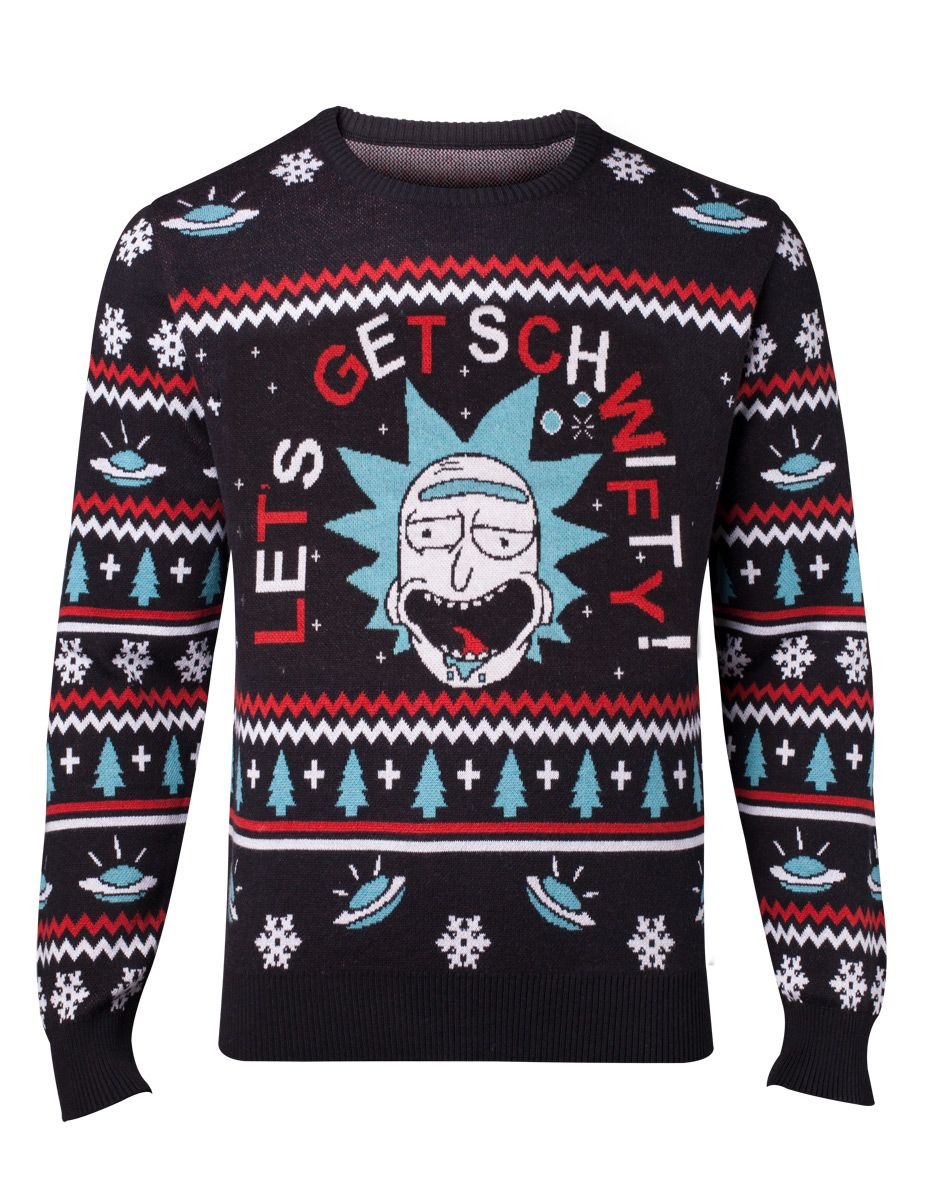 rick and morty lets get schwifty ugly christmas sweater material 100 acrylic knitted jumper