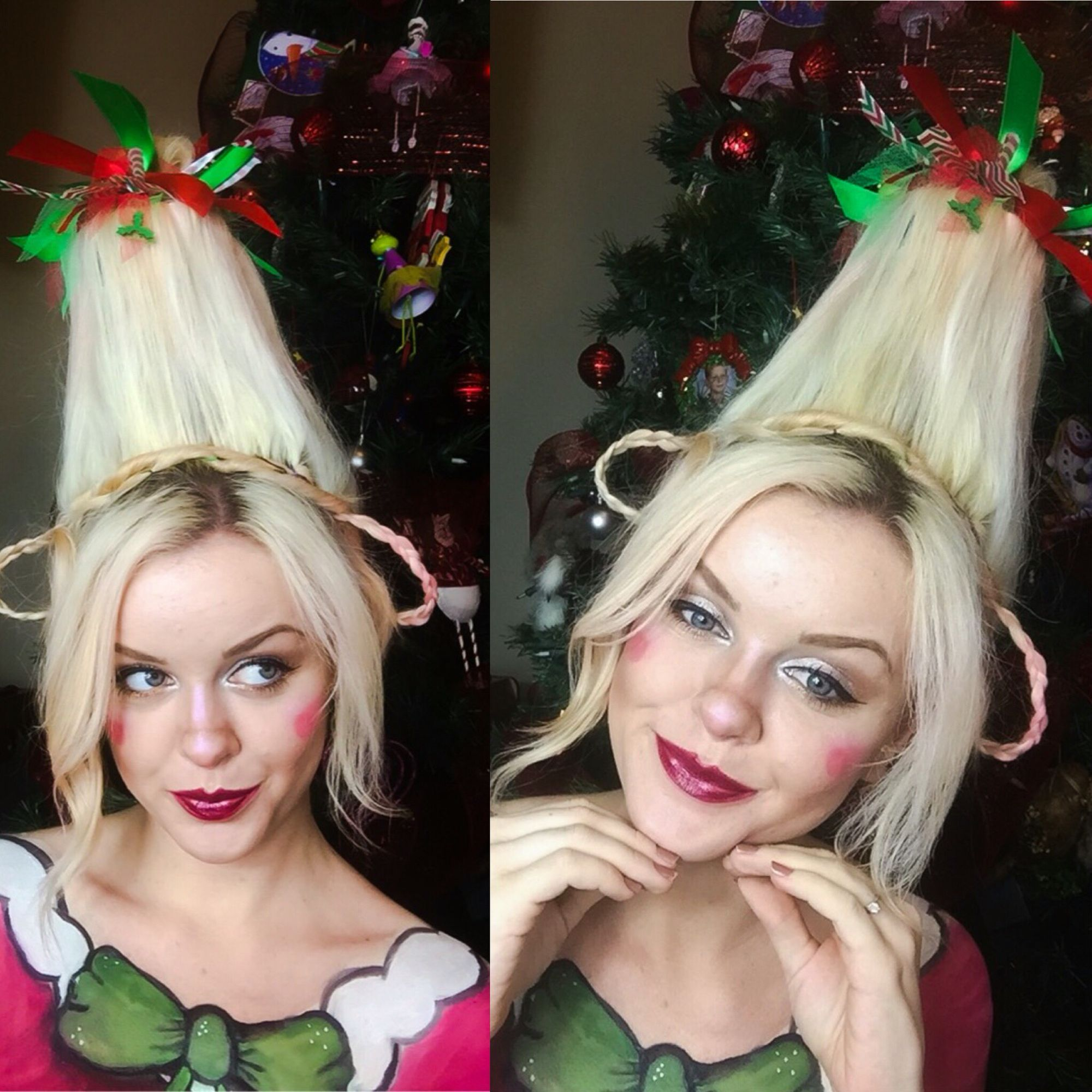Whoville Christmas Makeup And Hair Whoville Christmas Christmas Elf Costume Christmas Costumes