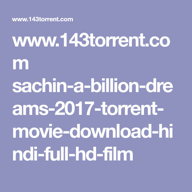 Sachin - A Billion Dreams movie download utorrent hd