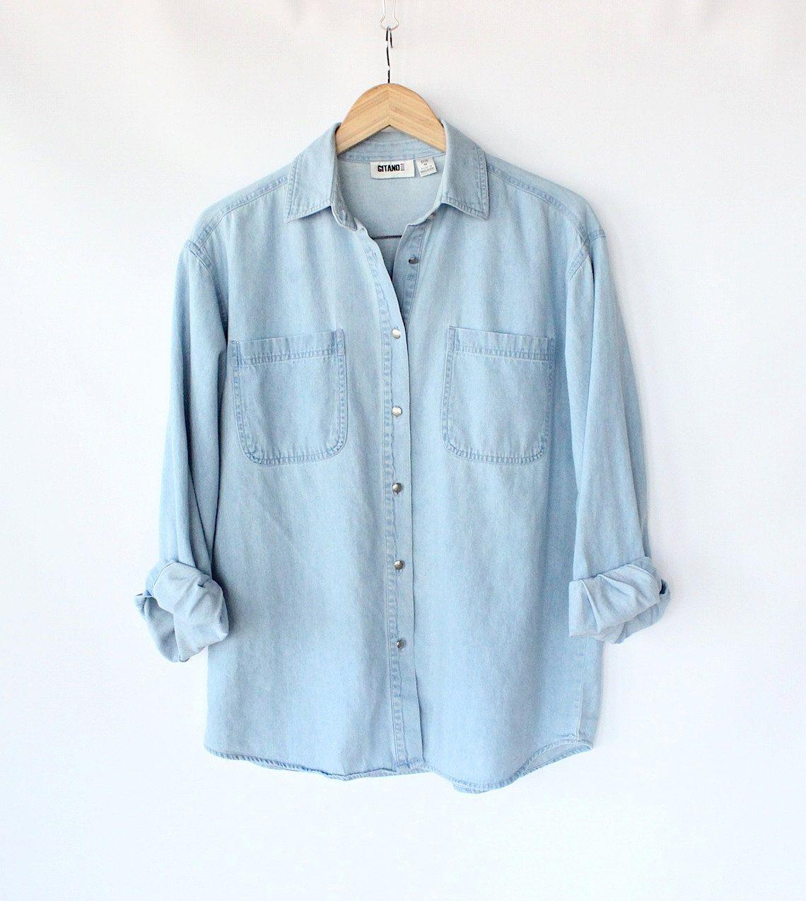 Vintage 80s Light Blue Jean Button Up Shirt // Women's Spring Denim Top. $30.00, via Etsy.