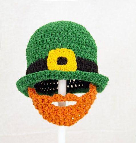 St Patricks crochet Patterns | St. Patrick\'s Day Beard Hat, Green ...