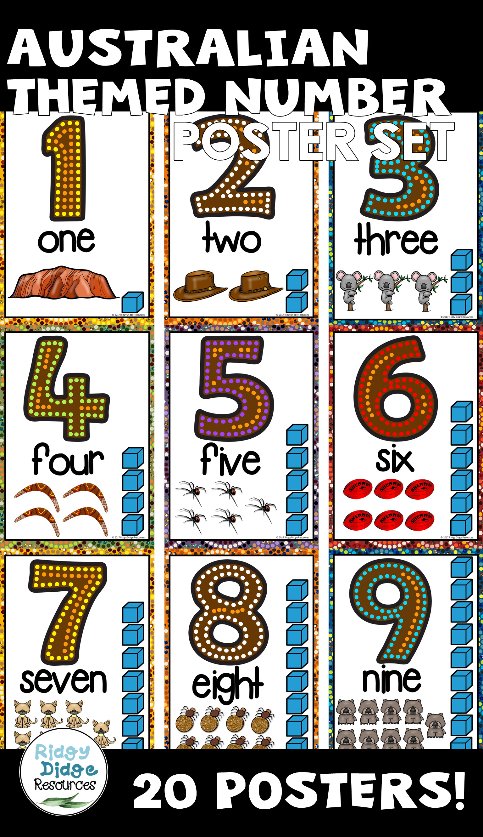 Australian Themed Number Posters Classroomdecor Numberposters Australianthemedclassroom Number Poster Numeracy Activities Aboriginal Education