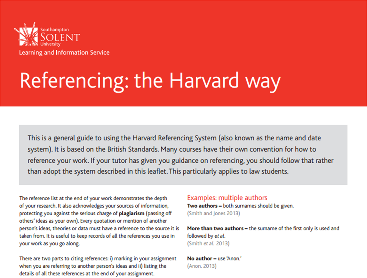 Referencing The Harvard Way Southampton Solent University Tip Study Skills How To Cite Book In Text