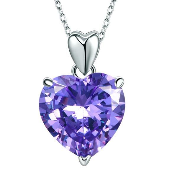 """DETAILS Chain Size : 18 """" (45.7 cm) including the clasp Pendant Size : 1.2 cm (5 Carat) Main Stone Color : Purple Main Stone: Created Topaz Main Stone Shape : Heart Cut Metal : Real Solid 925 Sterling Silver Why Gem Lux Jewelry? At Gem Lux, our jewelry is made with high quality materials. We only use 925 sterling silver, 14k pure gold, real diamonds and premium simulated diamonds for our handcrafted pieces to ensure our customers can enjoy their jewelry for years to come. We offer a wide selecti"""