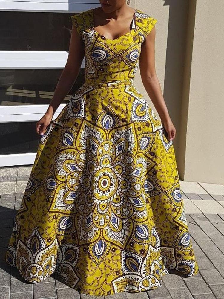 186ea3ddde Sleeveless Contrast Color Square Collar Floral Maxi Dress – hebedress.com