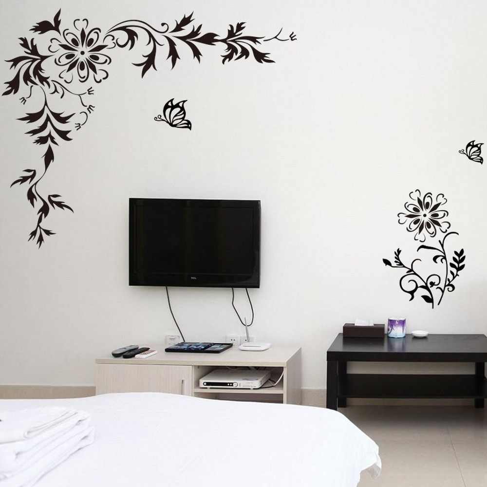 Diagonal Beautiful Black Flower Vine /& Butterfly Wall Sticker Decals  Home Decor