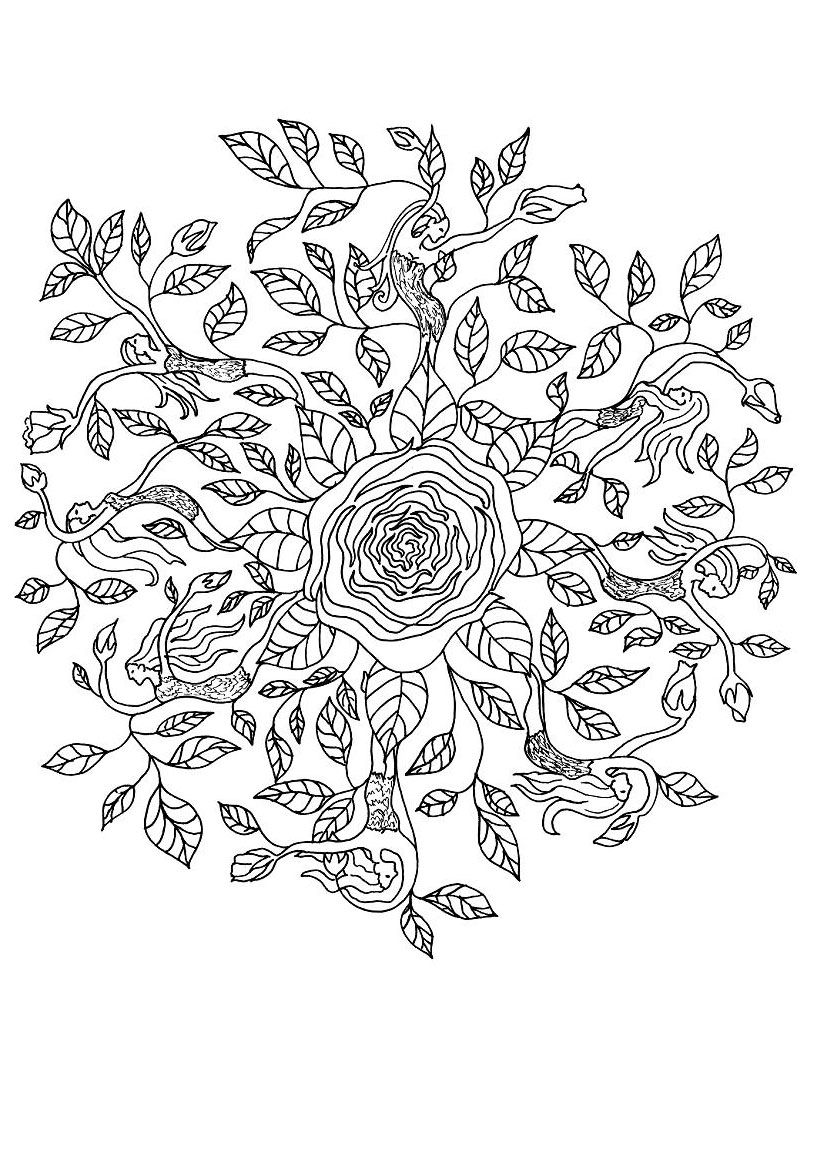 rose elf mandala coloring pages