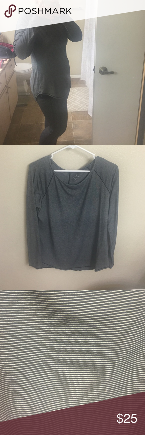 Athleta micro stripe shanti top My favorite light weight pull over top to wear with leggings or jeans. Athleta Tops
