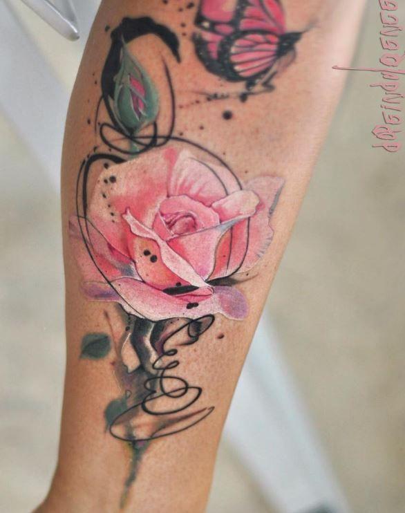 pink rose tattoo tattoos pinterest tattoo ideen schulter tattoo und aquarell. Black Bedroom Furniture Sets. Home Design Ideas