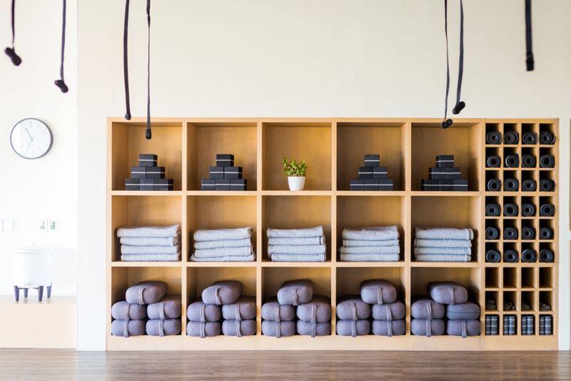 Yoga matts and equipment storage.  91a8271ed001