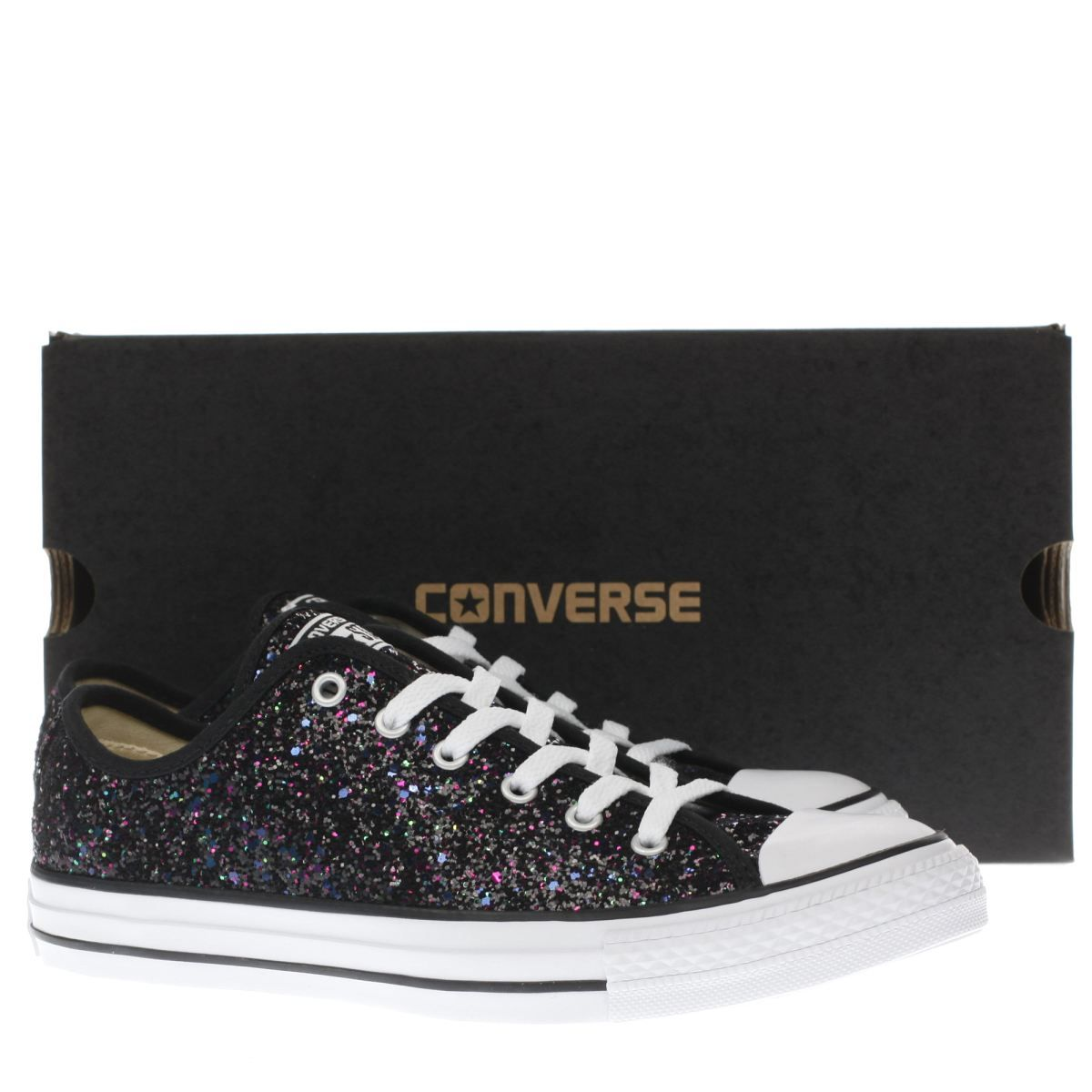 womens converse black & purple all star glitter ox trainers | £50 ...