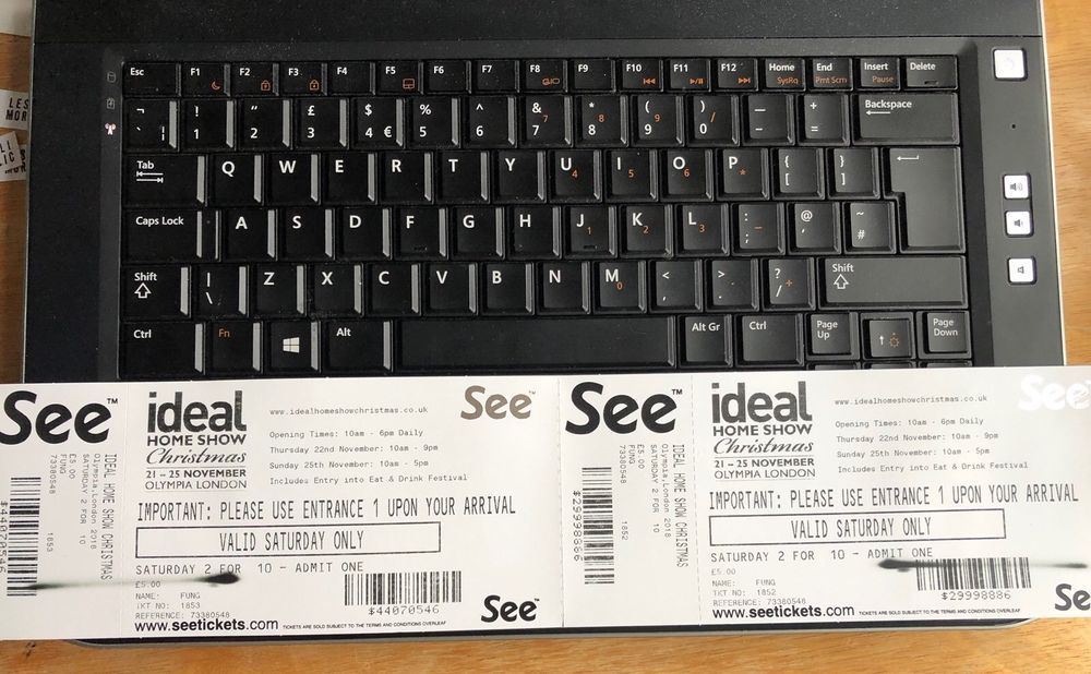 Ideal Home Show Christmas Tickets Olympia London x2 SATURDAY £200