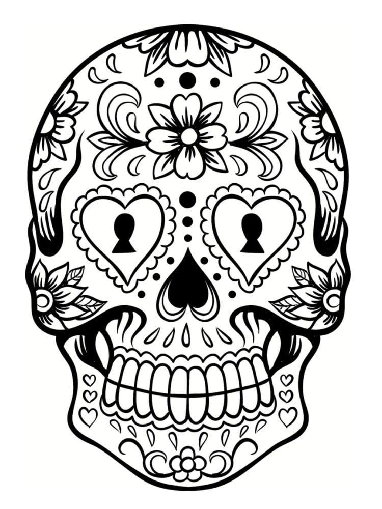 Impressionnant Coloriage A Imprimer Tete De Mort Mexicaine