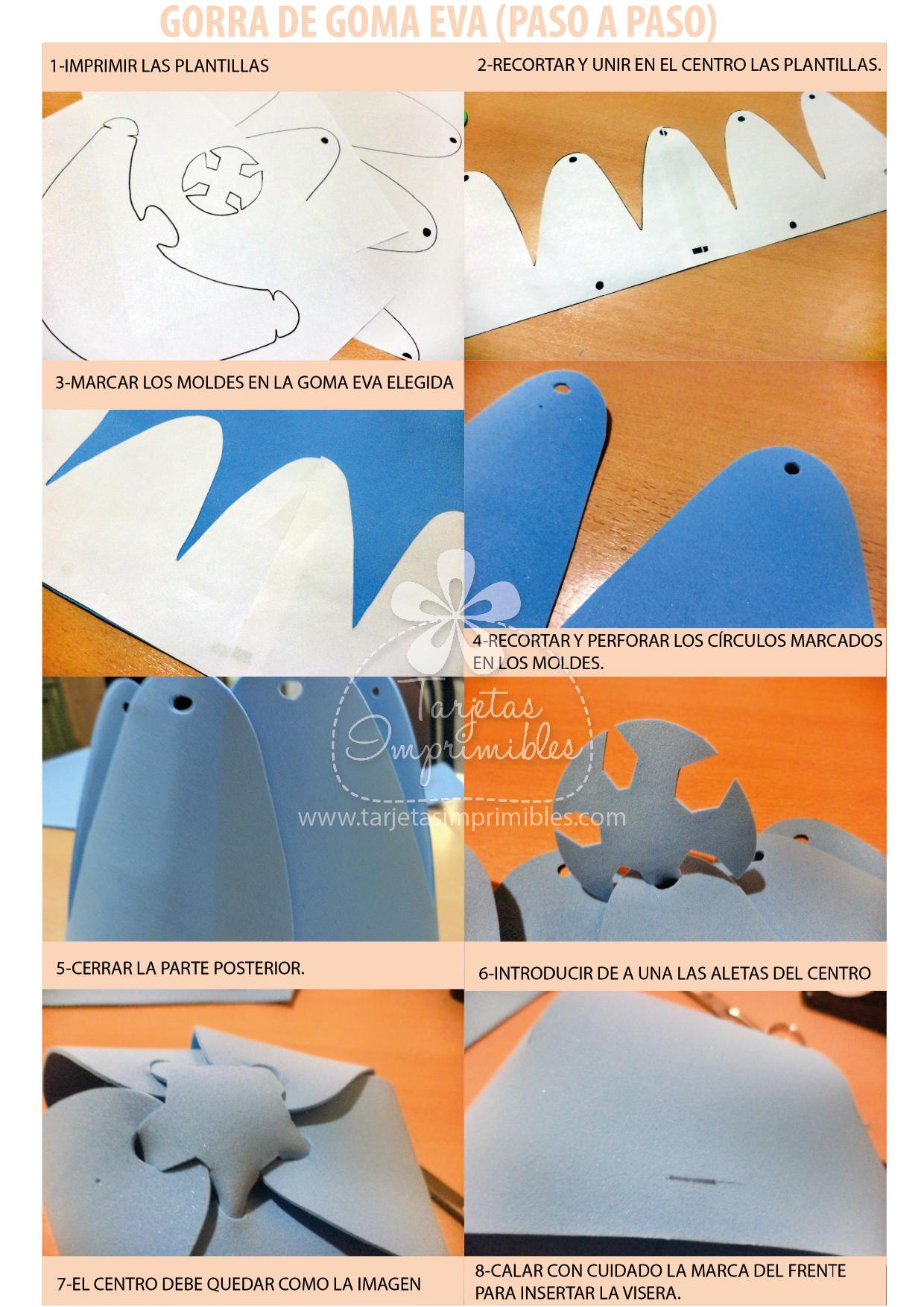 Sombreros o gorras de goma eva paso a paso y moldes  9f96286419f