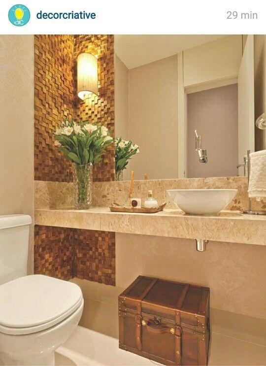 Decoração de banheiro pequeno, com travertino  Decoração de Interiores  Pin -> Cuba Para Banheiro Pequeno