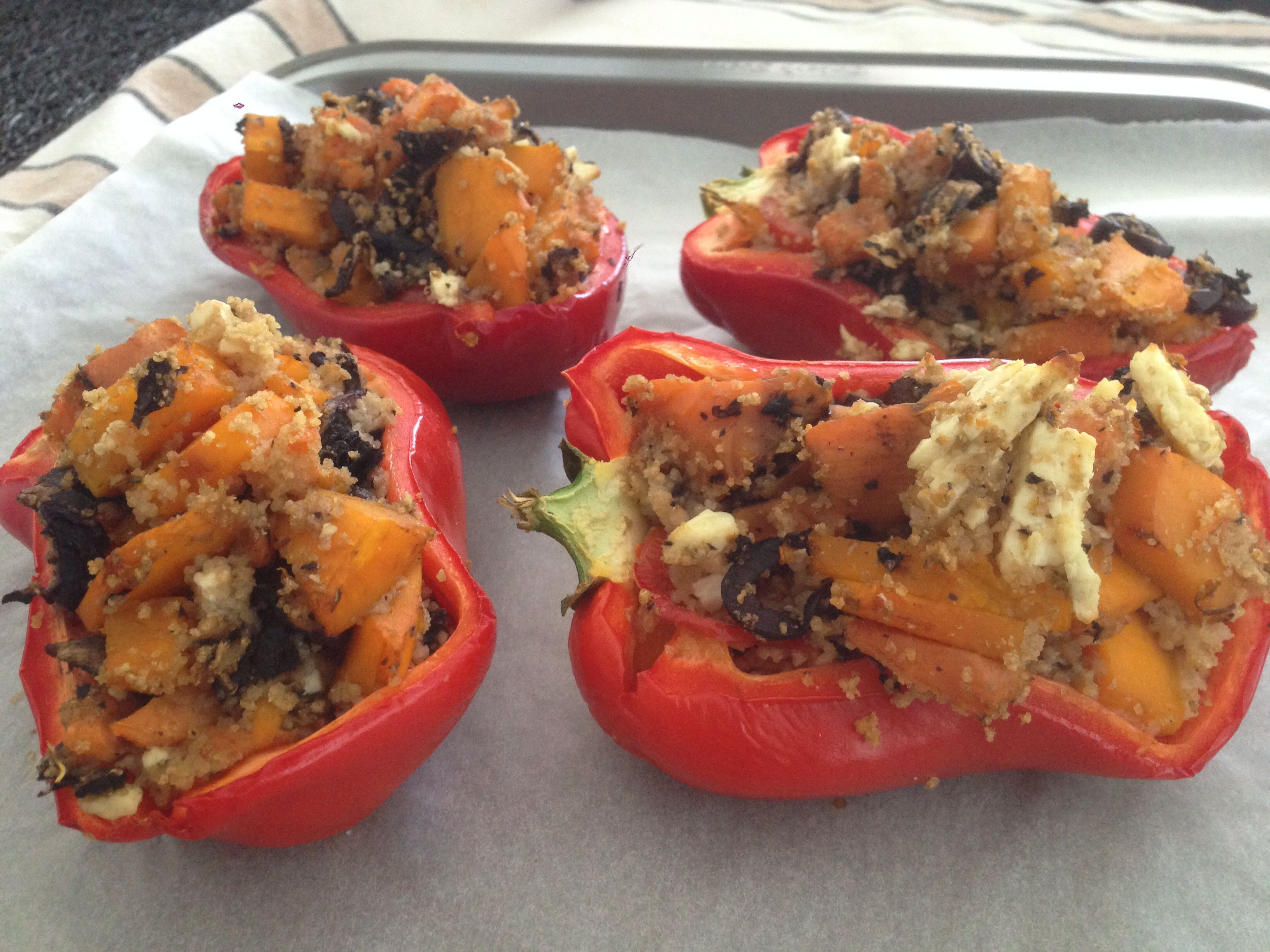Stuffed capsicums with couscous, pumpkin, sweet potato, olives, tomato, mushrooms and feta