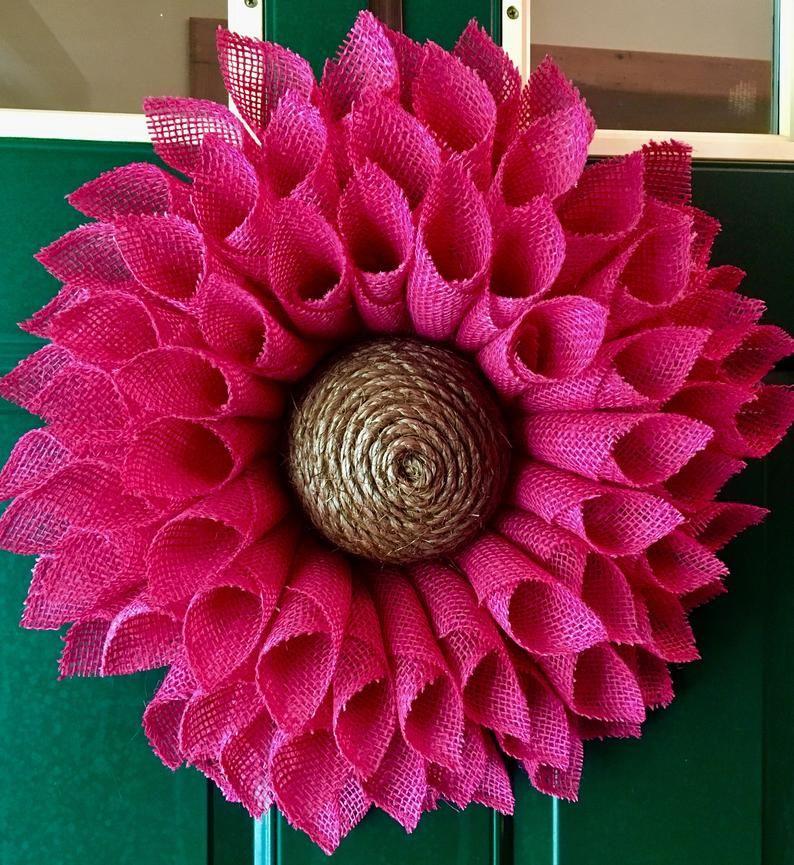 Photo of Little pink sunflower, burlap wreath, sunflower wreath, pink burlap wreath, burlap flower, spring wreath, summer wreath, front door wreath,