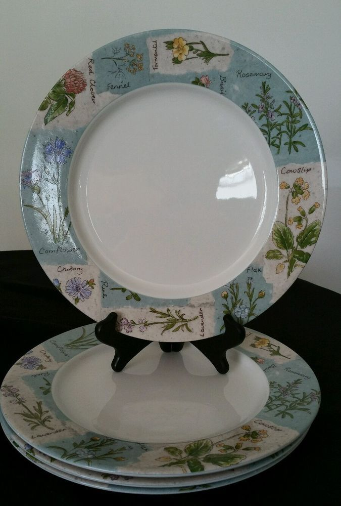 SET of 4 - Royal Doulton Everyday WILDFLOWERS Dinner PLATES - 11\  & SET of 4 - Royal Doulton Everyday WILDFLOWERS Dinner PLATES - 11 ...