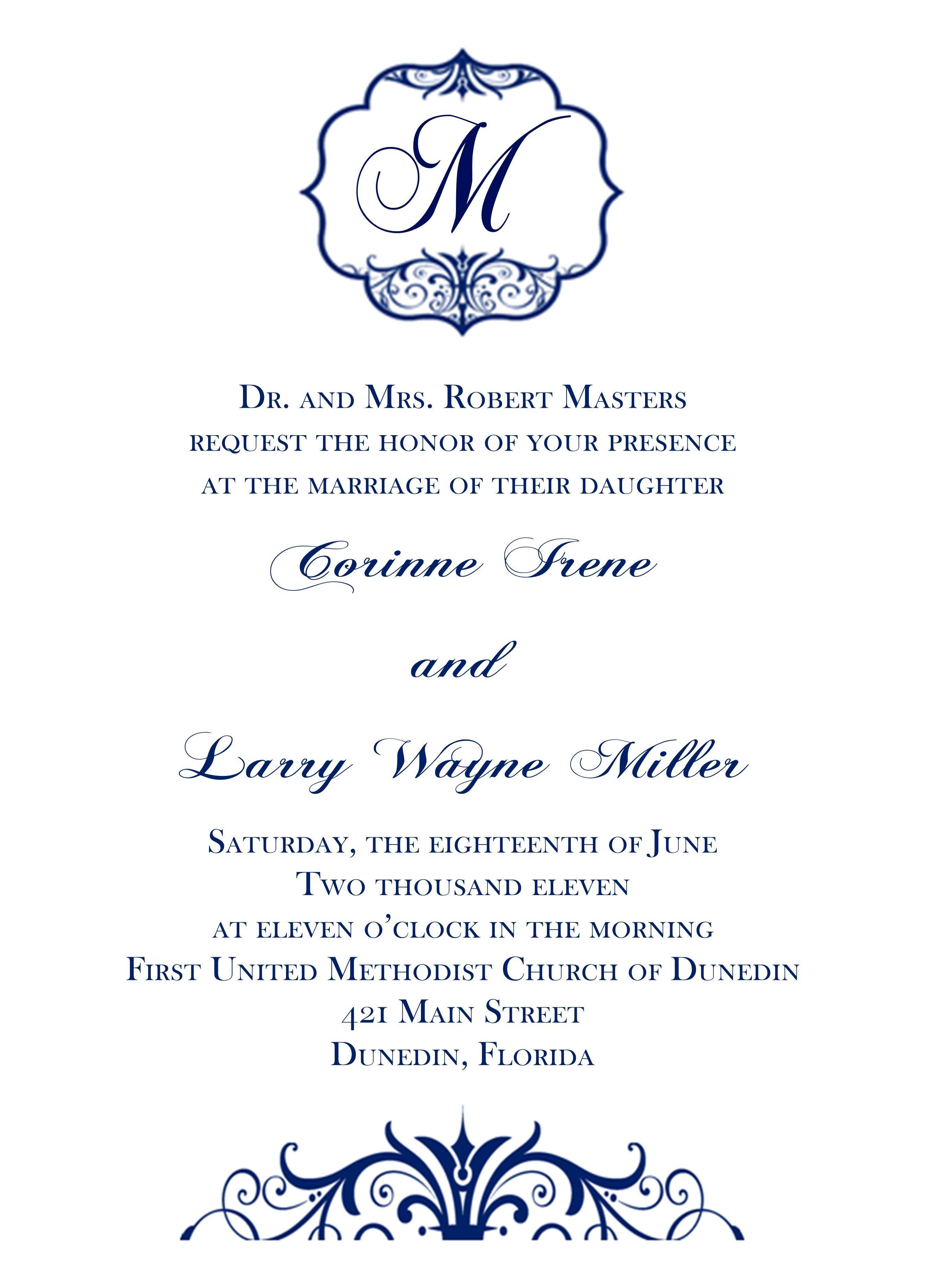 Blue Traditional Wedding Invitation | traditional wedding invitation ...
