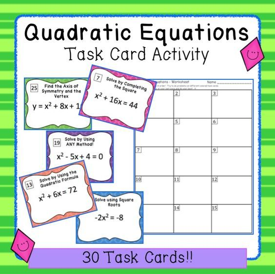 Quadratic Equations - Task Card Activity Square roots, Equation - square root chart template