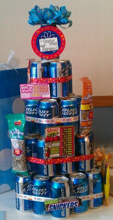 Man Cake Bud Light Layers Decorated With Peanuts