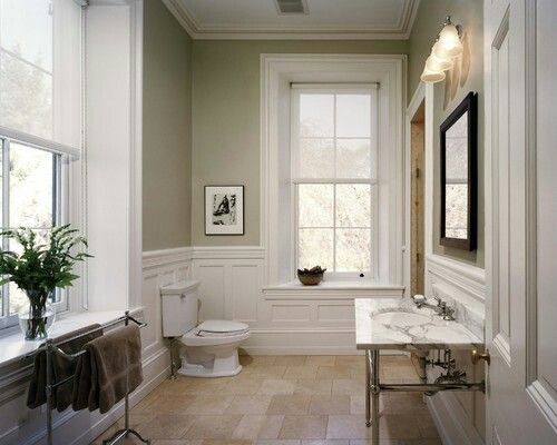 Traditional bathroom with beige / greige walls (benjamin moore - pashmina)  and white trim