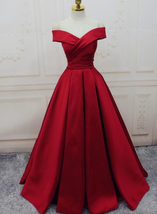 Red Satin Off Shoulder Handmade Long Formal Dress,