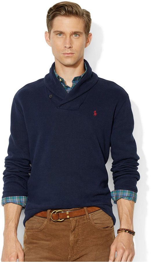 Polo Ralph Lauren French-Rib Shawl Sweater, Crafted from sueded French-rib  cotton, this classic pullover features a handsome shawl collar and suede  elbow ... 1a1ac1584d2