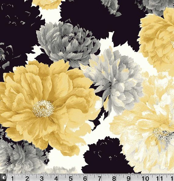 Le Jardin by P & B Textiles, Yellow Floral Fabric