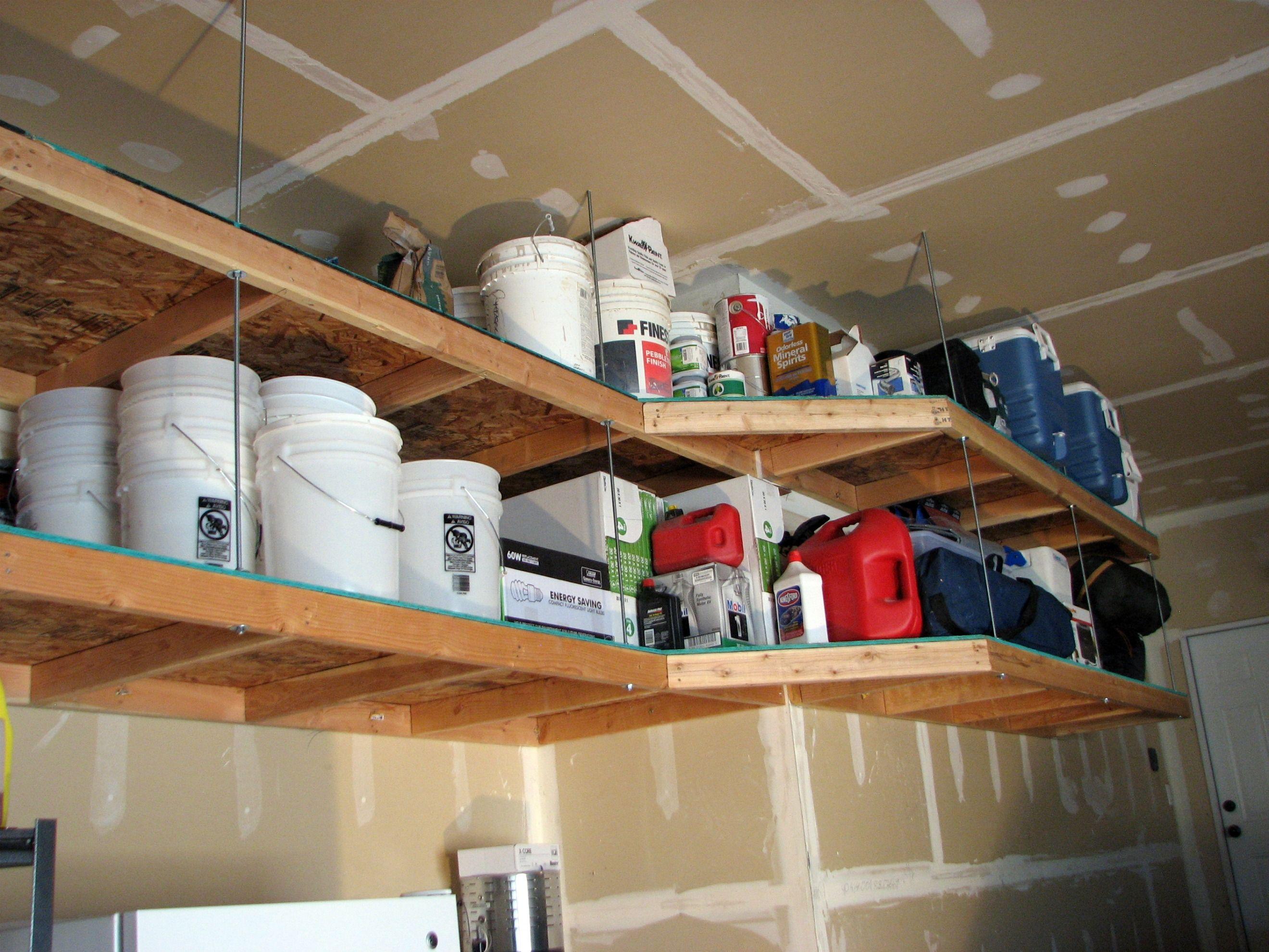 Diy hanging wood shelves diy overhead garage storage