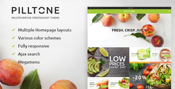 Pilltone - Fresh Food Responsive Prestashop Theme . This trendy and stylish PrestaShop template will be a perfect match for a variety of food related web projects. The theme is abundant in quality visuals, demonstrating the store's offers in the most favorable light. The theme's layout features a card-based positioning of banners, each of which is