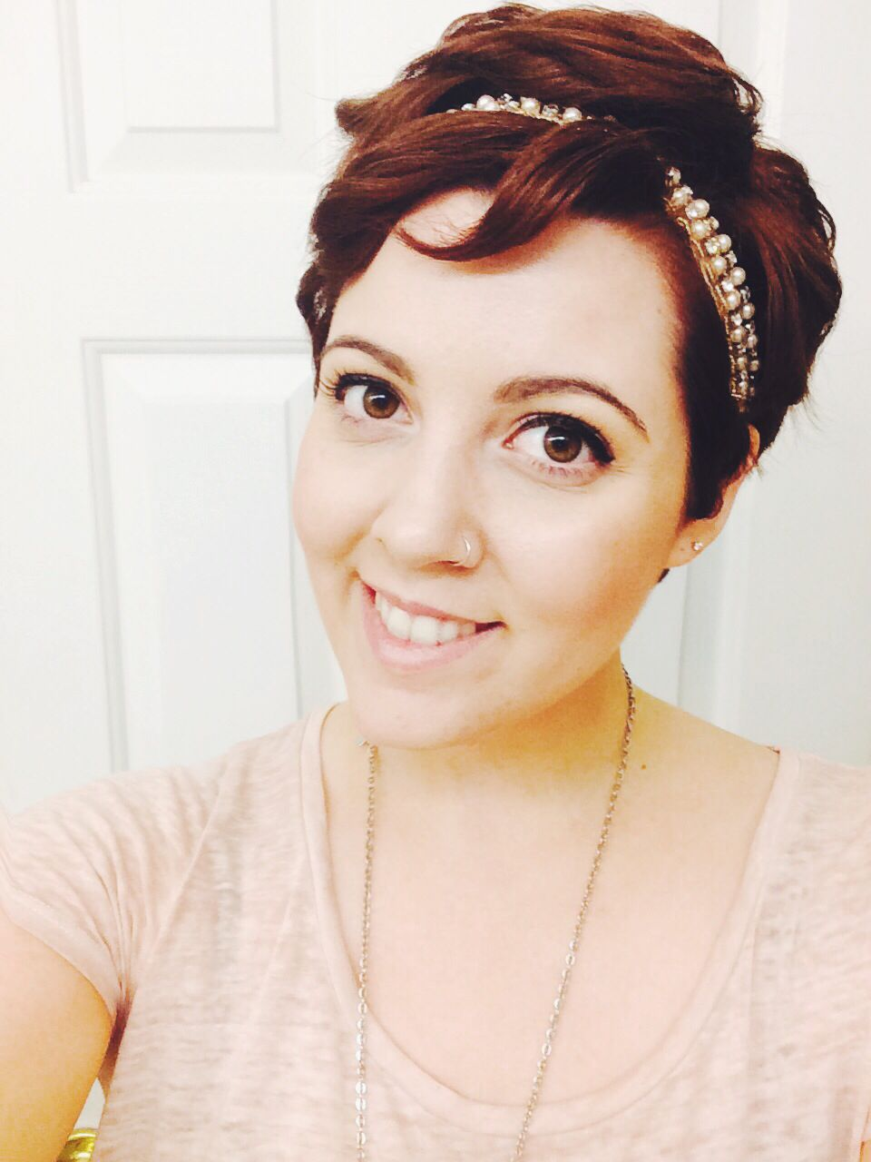 Pixie with headband while i grow it out a little hair love