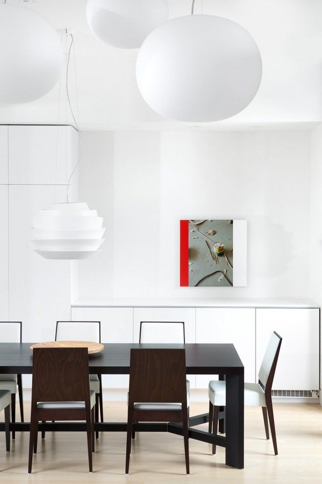 Lighting design white bubble lamps at the ocean park house near vancouver · dining room light fixturesocean